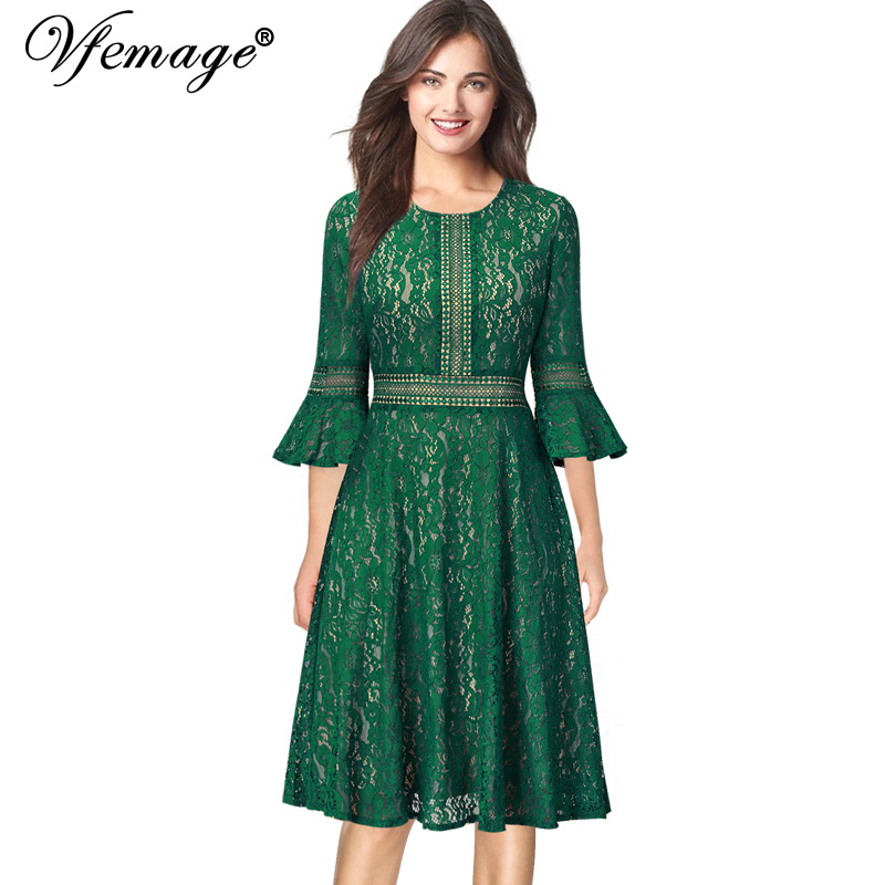 Vintage Wedding Dresses With Bell Sleeves: Vfemage Women Vintage Retro Full Floral Lace 3/4 Flare