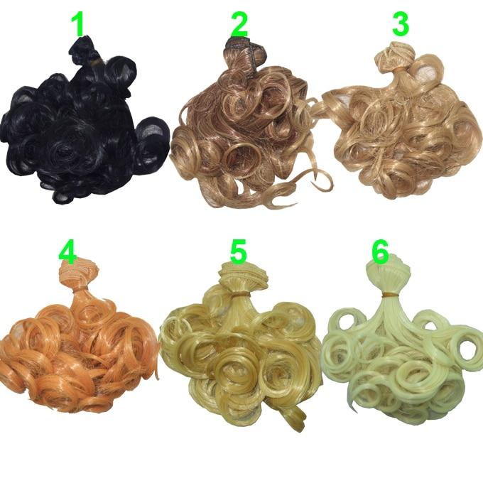 Color choose 15cm*100CM Curly brown falxen brown black khaki natural color 1/3 1/4 BJD Doll Wigs hair wholesales doll hairs
