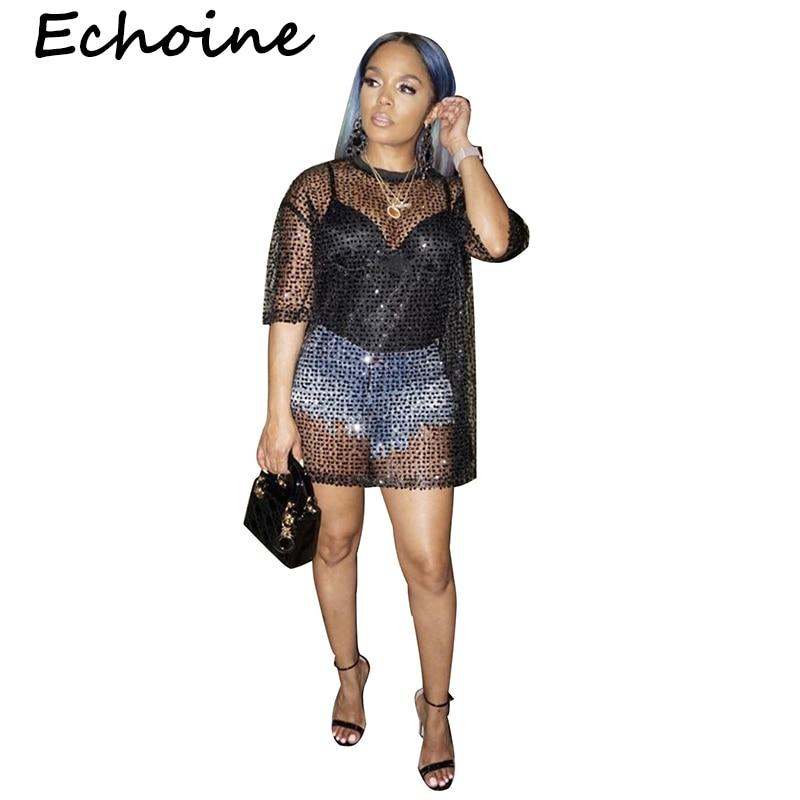 Echoine rahat T Shirt Femme Sequins Shining siyah renk See Through üstleri yaz kadınlar 2019 için Tops