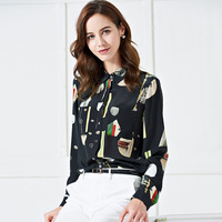 100% Mulberry Silk Shirt/Silk Printing Crepe Blouses/Shirt Woman Long Sleeve/New 2019 Plus Size Ladies Tops/Casual Office Blouse