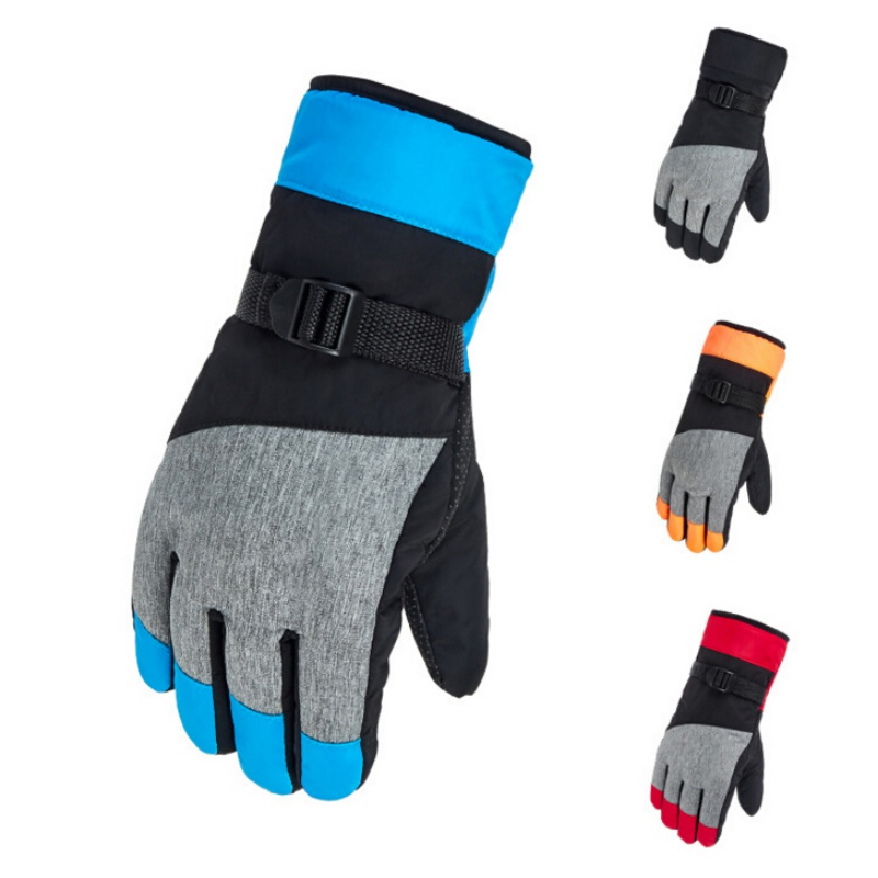 Winter Warm Snowboard Ski Gloves Unisex Windproof Doodle Printed Waterproof Thicken Skiing Motorcycle Riding Gloves