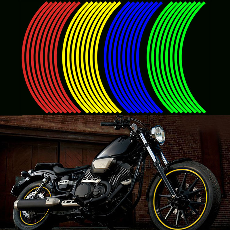 17 18 Inch Motorcycle Reflective Sticker Auto Decor Tire Rim Wheel Stickers On Car 16 Strips Tape Safety Reflector