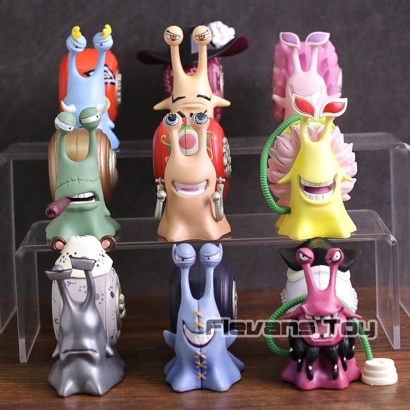 Anime One Piece Den Den Mushi Telephone PVC Figures Toys 9pcs/set Dracule Mihawk Kuma Black Beard Doflamingo Jinbe Boa Hancock