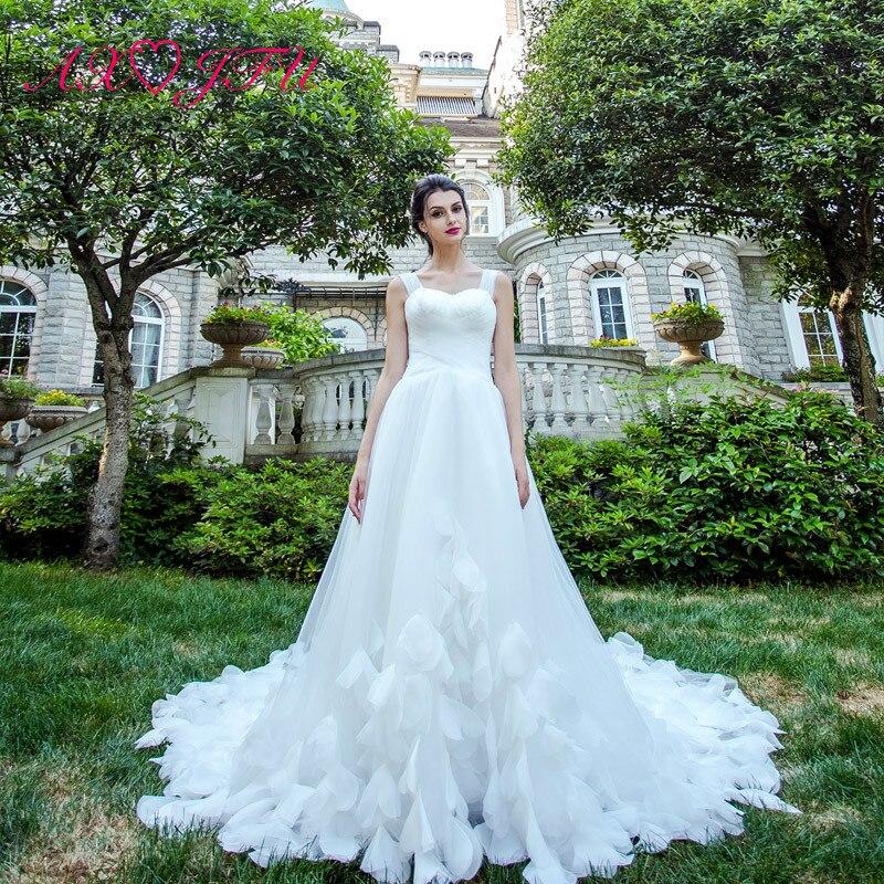 AXJFU Luxury Princess White Wedding Dress Flower Lace Sleeveless Feathers Wedding Dress Vintage Beach Wedding Dress 2028