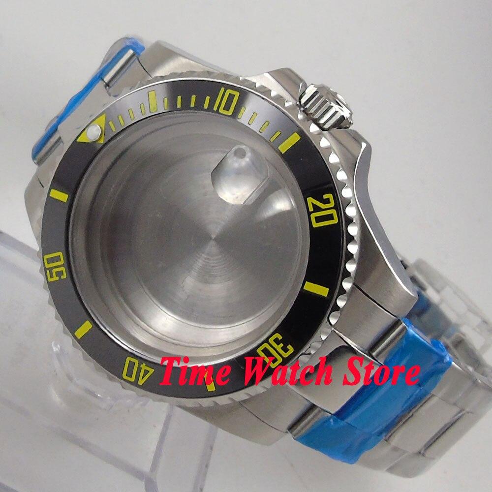 Fit ETA 2824 2836 movement 40mm sapphire glass black yellow bezel watch case 118