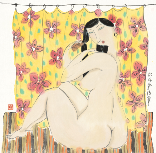 free shipping classical Chinese girl <font><b>nude</b></font> flower <font><b>curtains</b></font> oil painting canvas painting prints on canvas art decoration picture