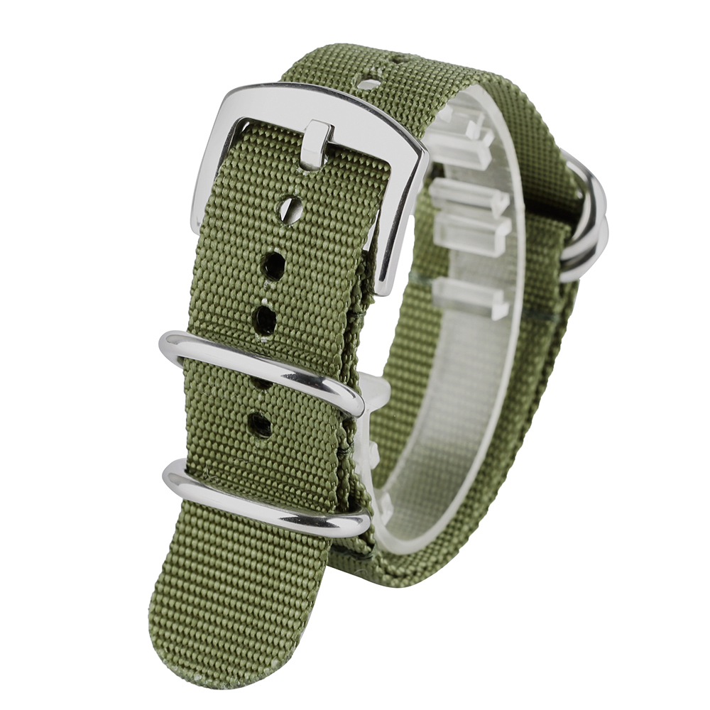 20mm 22mm 24mm Watch Strap Silver Buckle Sport NATO Green/Black Nylon Fabric Band Straps Strong Watchbands Bracelets for Mens