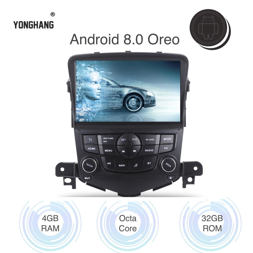Voiture Android 8.0/7.1 Autoradio 2 din pour Chevrolet Cruze 2008-2012 multimédia Navi Wifi BT GPS RDS AUX USB mirroir-Link octa-core