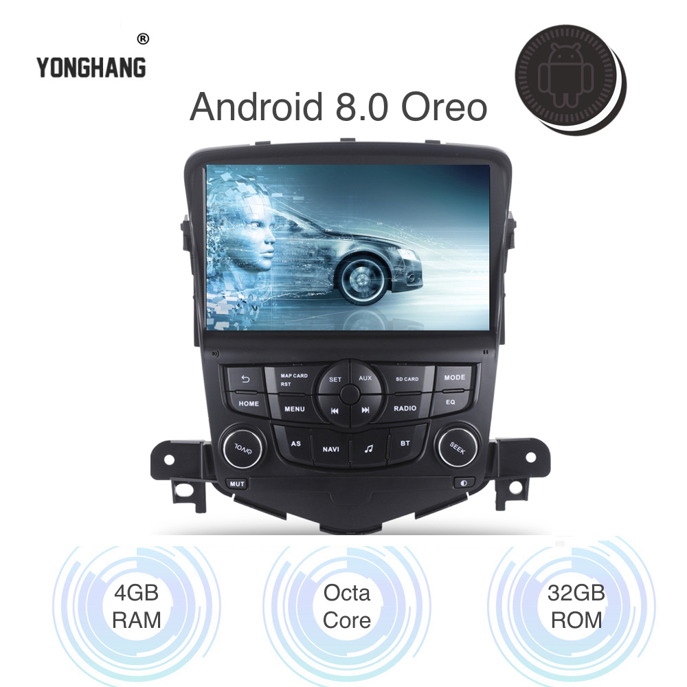 Voiture Android 8.0/7.1 Autoradio 2 din pour Chevrolet Cruze 2008-2012 multimédia Navi Wifi BT GPS RDS AUX USB mirroir-Link octa-core