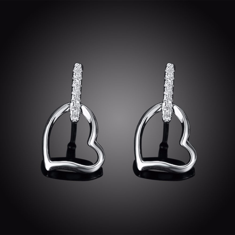 50% Off Women Crystal Heart Earrings Girls Jewelry Luxury Statement Silver Earrings With Stones For Wedding Wholesale SPCE731