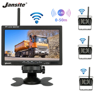 Jansite 7 Color Screen Wireless Car Rearview Monitor Display Reverse Assistance Camera Parking System with 3 side rear cameras