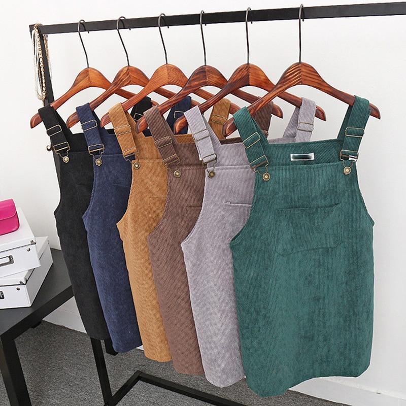 2018 New Summer Women Corduroy Suspender Overall Vest Jumpsuit Braces Skirt Suspender skirts Preppy Style