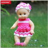 35cm Pink Knitted Dress Blink Eyes Lifelike Reborn Baby Dolls Soft Vinyl Cheap Toys
