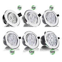 Bombilla LED superbrillante, 3W, 5W, 7W, 9W, 12W, 15W, luz LED empotrable de techo, foco empotrable para iluminación del hogar, AC85-265V