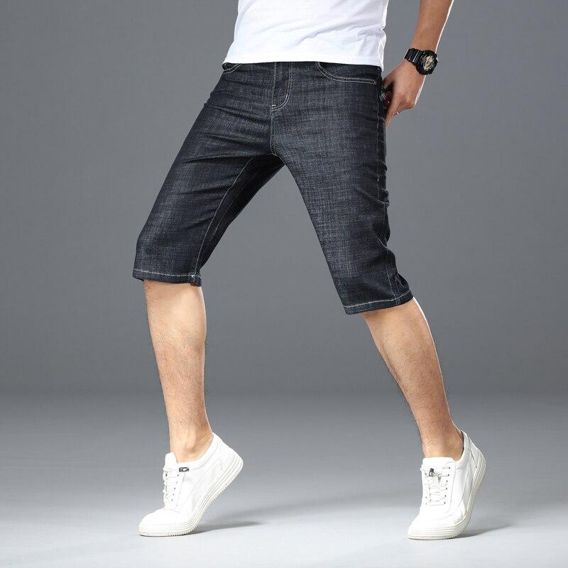 2019 Cotton Fabric Short Jeans Men Casual Classic Straight Denim Shorts Jeans Male Denim Multi-pocket Pants Overalls