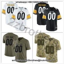 230d48a88 China Fábrica OEM Projeto DIY Ponto Logotipo Personalizado Camisa De  Futebol Americano T-Shirt Da Equipe Pittsburgh Branco Preto.