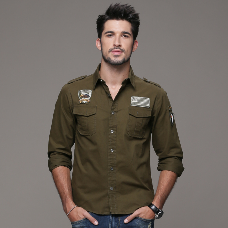 Buy military style mens shirts men for Mens military style long sleeve shirts