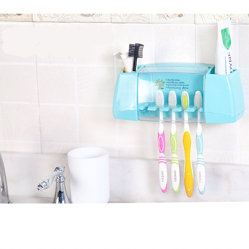 Bathroom:  Bathroom Product Dust-proof 5 Toothbrush Holders Racks With 2 Multifunctional Lattice For Brush Makeup Storage - Martin's & Co