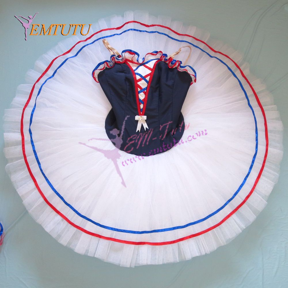 adult flames of paris ballet tutu professional ballet costumes navy blue white women ballerina pancake platter