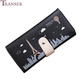 Transer Long Wallet Women Handbag Card-Holders Coin-Purse Fashion Tower Hasp W2130 Retro