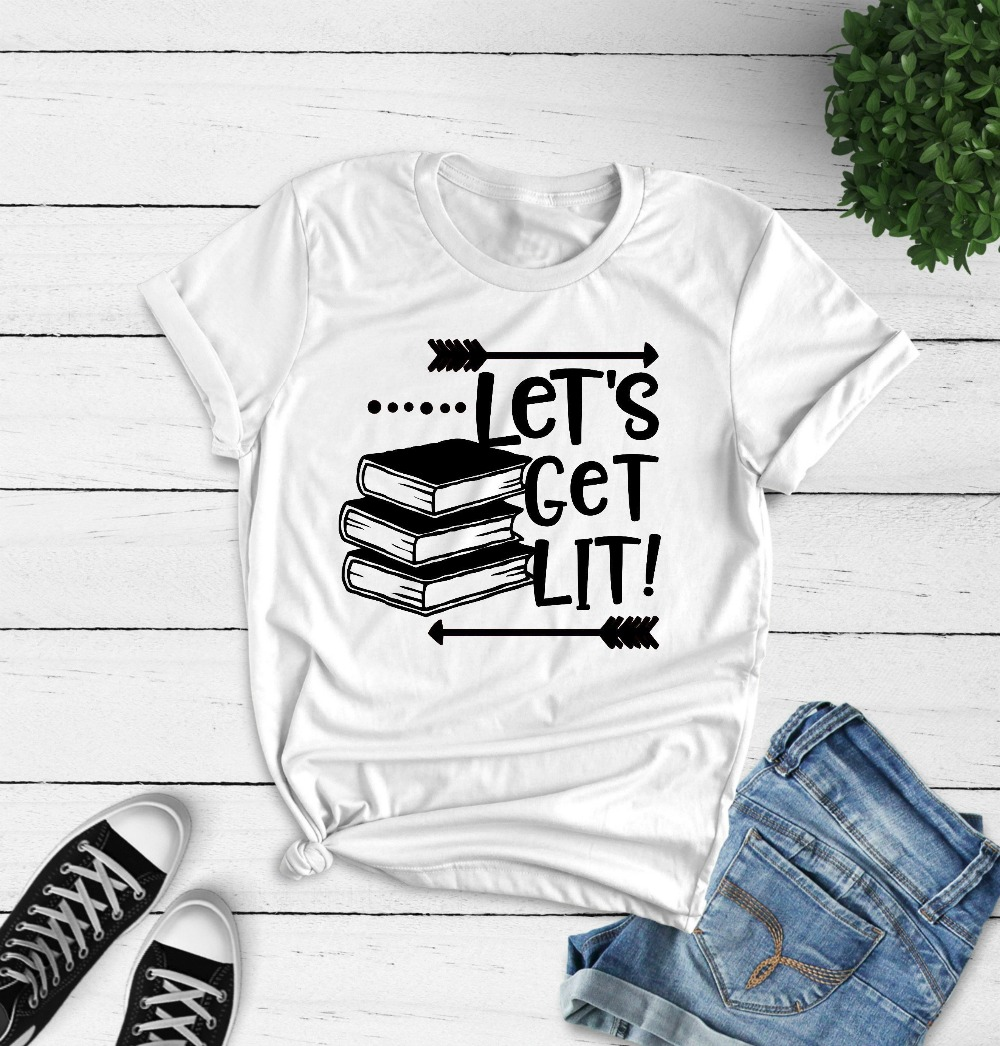 Genereus Laten We Lit T-shirt Grappig Engels Leraar Boek Grafische Vrouwen Mode Katoen Casual Leraar Dag Gift Grunge Tumblr Harajuku Tee Haren Voorkomen Tegen Grijzing En Nuttig Om Teint Te Behouden