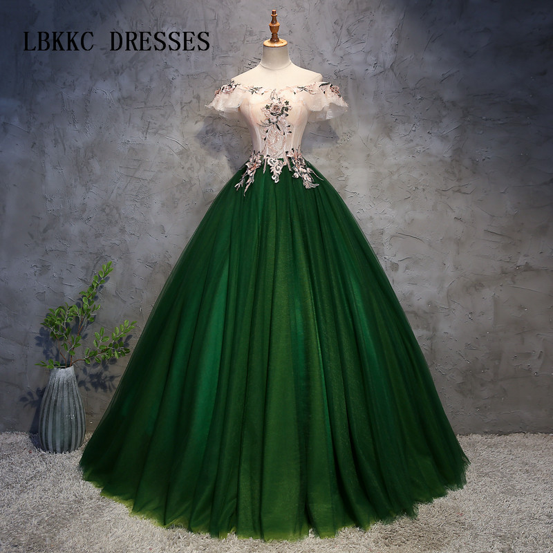Us 11534 21 Offdark Green Quinceanera Dresses Top Champagne See Through Off The Shoulder Ball Gown Vestidos De Quince Anos 2018 In Quinceanera