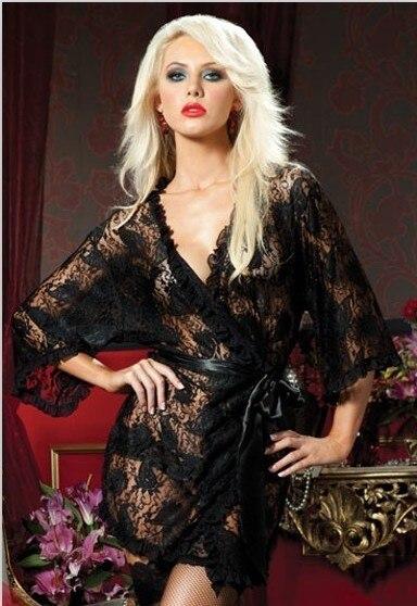 beautiful soft lace semi-flared ruffle half sleeve bathrobe sleepwear piece set sexy underwear Lingeries Free Shipping