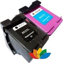 2 заправленных чернил для hp 802 802xl Черный трехцветный комбо