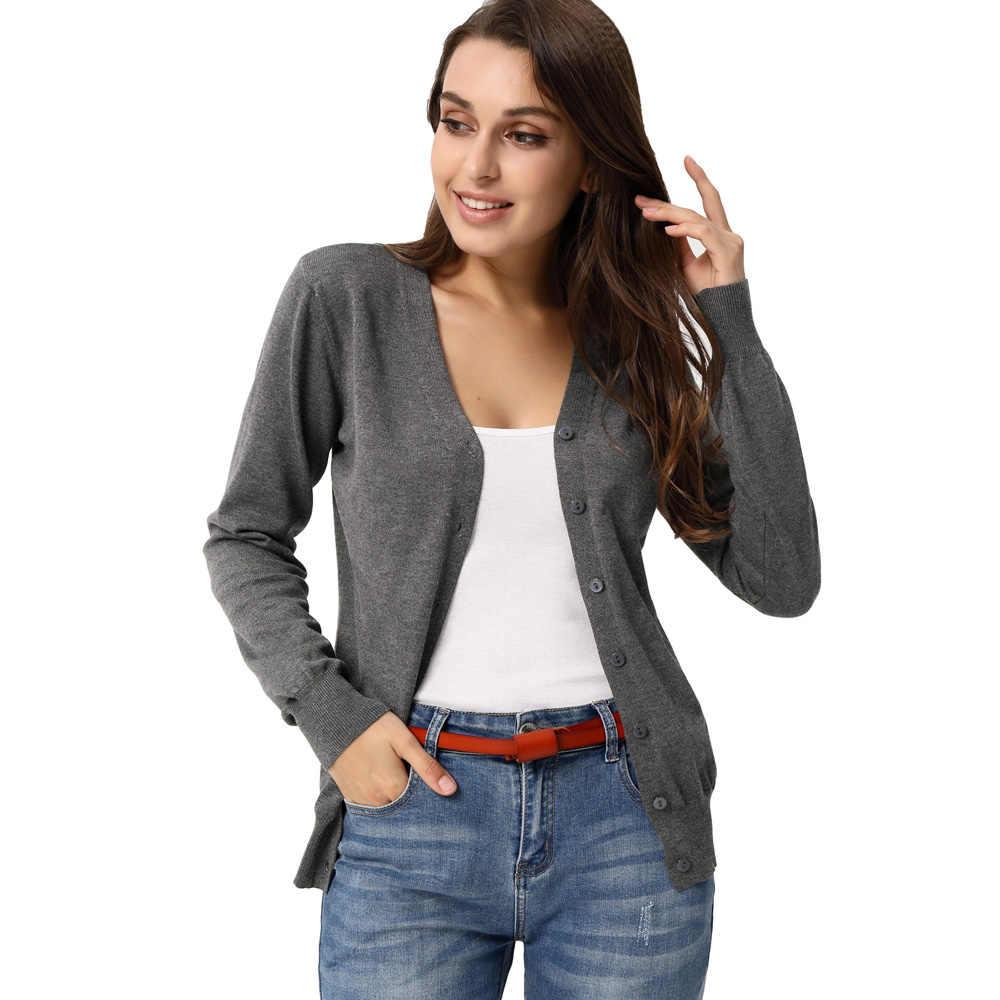 Fashion Women/'s Long Sleeve V-neck Cropped Cotton Knitwear Coat Cardigan Outwear