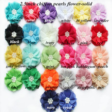 цена на DHL  Free shipping 120 pcs/lot , 2.5 ' pearl chiffon flowers for baby hair accessories ,  headbands chiffon flowers