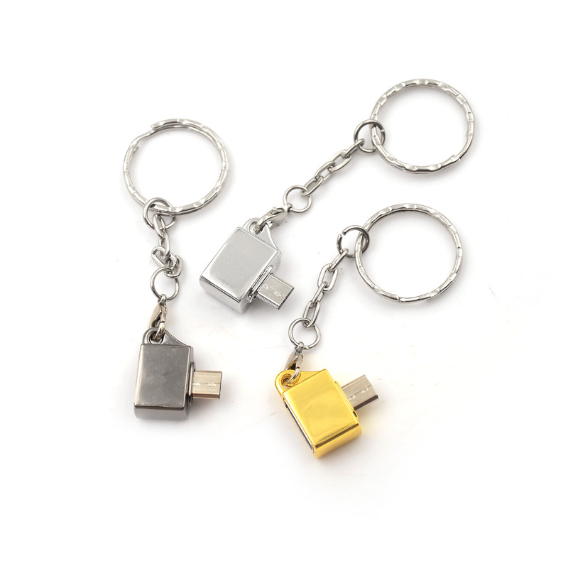 1pc Metal Micro Usb Male To Usb 2.0 A Female Otg Converter Adapter With Key Ring