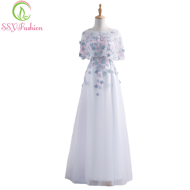 SSYFashion summer new elegant banquet evening dress sweet white lace  appliques with shawl long formal party gown 2fd212dc697a