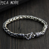 925 Sterling Silver Twisted Rope Chain Bracelet 100 Real S925 Solid Silver Bracelets For Men Jewelry