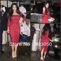 Kim Kardashian Square Neck Three Quarter Sleeve Mid Calf Length Red Lace Celebrity Dress
