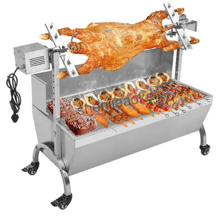 Electric barbecue grill Stainless Steel BBQ Grill Charcoal Pig Spit Roaster Rotisserie Barbeque machine Multifunctional 1pc extra large stainless steel camping bbq grill 50 5 x 44 5 x 43 cm