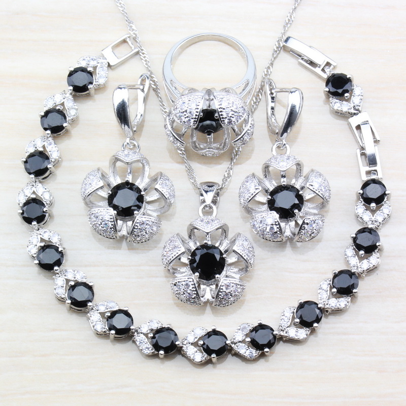 Punk-Accessories Bracelet Jewelry-Sets Costume Necklace/ring Black-Stone 925-Sterling-Silver