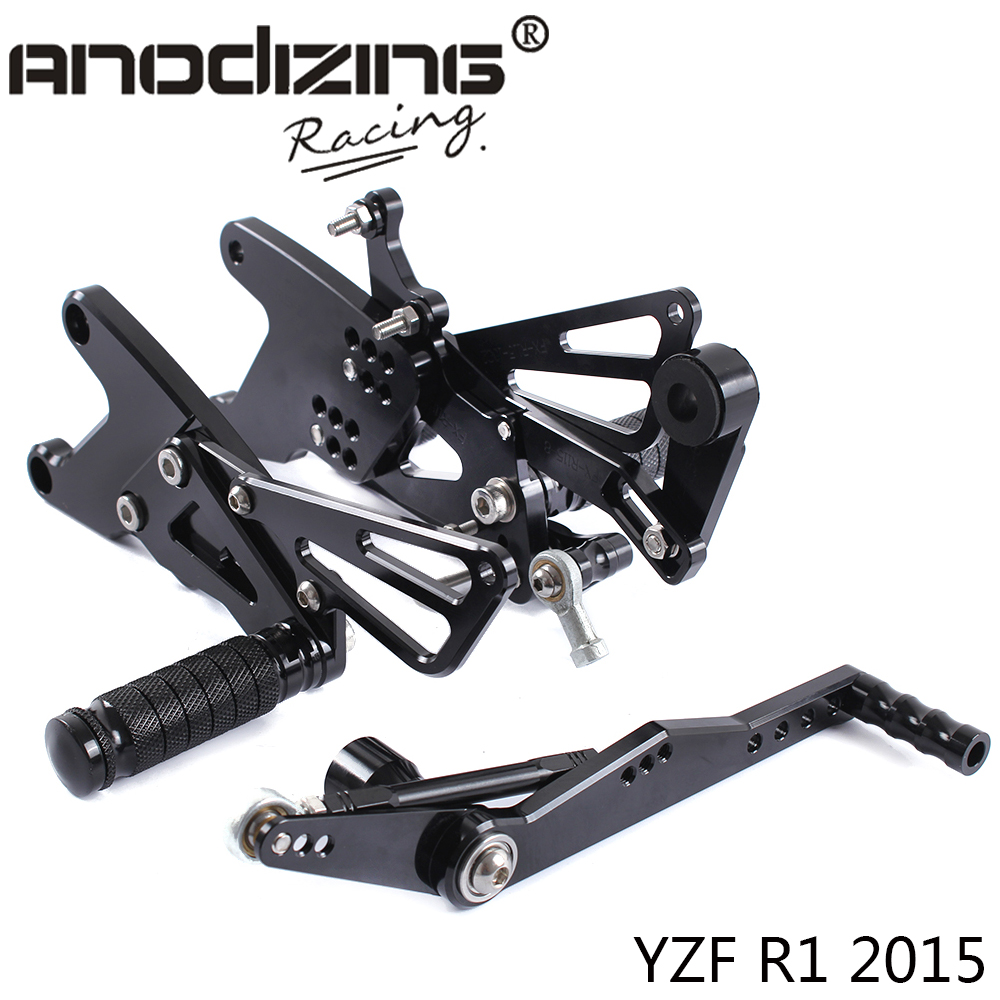 Full CNC Aluminum Motorcycle Adjustable Rearsets Rear Sets Foot Pegs For YAMAHA YZF R1 2015
