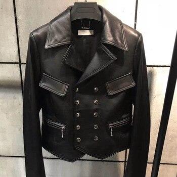 Chaqueta de cuero genuino para mujer Otoño Invierno 2018 moda negro piel de oveja Natural chaqueta de cuero de oveja Real Mujer