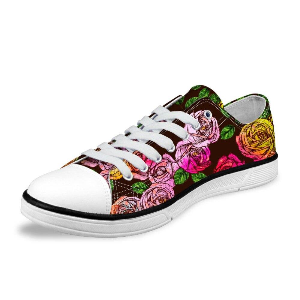 NOISYDESINGS Womens Classic Canvas Shoes 3D Colorful Canvas Shoes Women shose flats Spring Rose Printed Shoes Gold Blue floral