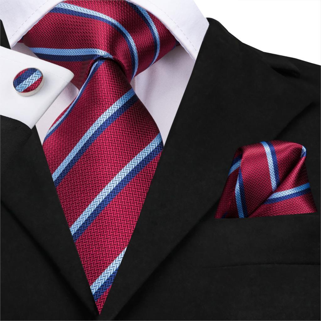 SN-3185 Men Tie Silk Woven Red Striped Tie Necktie Hanky Cufflinks Set Luxury Quality Fashion Men's Party Wedding Tie Set