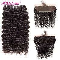 Mslynn Deep Wave Hair Bundles With Frontal Closure Brazilian Hair Weave Bundles Human Hair With Closure
