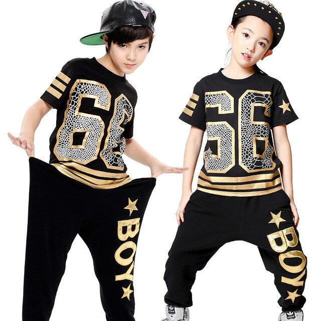 952ee6351da2 Fashion Boy Girl Hip Hop Dance Wear Mordern Jazz Hip-Hop 2pcs Clothing Set  Kids Child Hip Hop Dance Costumes