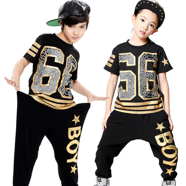 Fashion Boy Girl Hip Hop Usura di Ballo Mordern Jazz Hip-Hop 2 pz Vestiti 6c3dfe18fa58