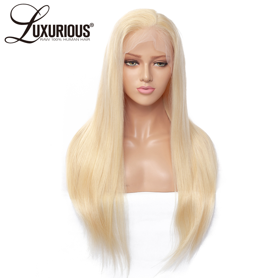 Blonde Color 613 Lace Front Human Hair Wigs With Transparent Lace 8 26 Pre Plucked Brazilian