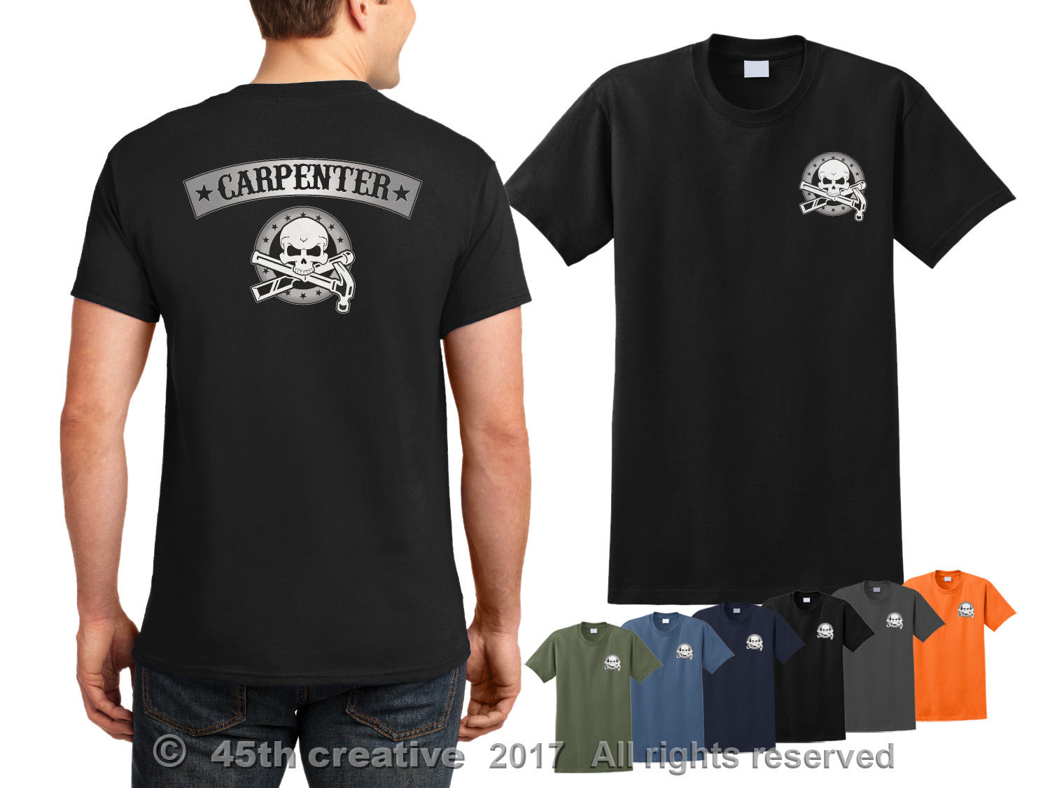 Double Side Double Side Joiner T-Shirt-Carpenter Skull Logo Wood Tool- Show Original Title Hoodies