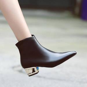 Image 5 - MORAZORA, novedad de 2020, Botines de cuero genuino para mujer, botas puntiagudas para otoño e invierno, zapatos de vestir de color sólido para mujer