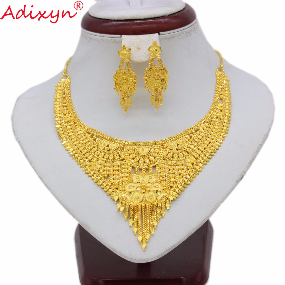 Adixyn African Tassels Necklace/Earring Sets Women Gold Color Exquisite Jewelry Arab/Ethiopian/Middle East Party N062222 adiors long middle parting shaggy wavy color mix synthetic party wig