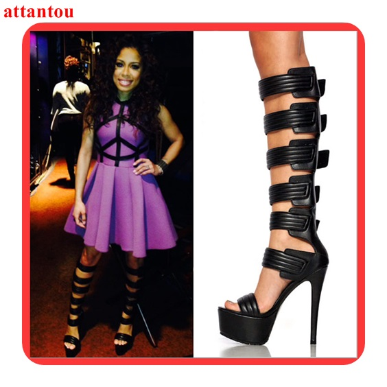 2018 fashion woman black long sandal boots multi hook&loop design platform heel female Gladiator booties party club model show