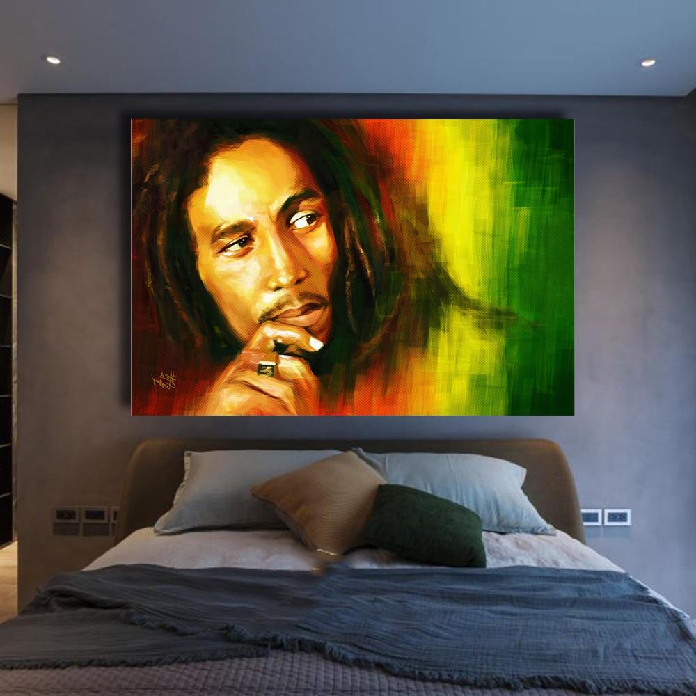 QKART Pared Cuadros para la Sala de Bob Marley Retrato Pintura Al ...