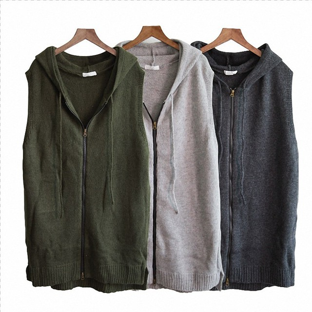 48c48e4b9a5 Women s Winter New Sleeveless Cardigan Tops Casual Plus Size Solid Knitted  Zipper Up Side Slit Hooded Sweater Vest Vestidos